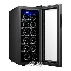 12 Bottle Wine Cooler Touch Screen LED Undercounter Wine Bottles Cooling Fridge