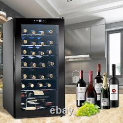 28 Bottles Compressor Wine Cooler, 53 Liters Can Hold, 220V(Black)