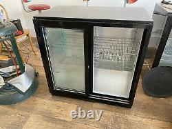 2 Glass Sliding Door Display Fridge Under Counter Shop Chiller Refrigerator