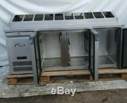 3door under counter prep fridge with 10 x 1/3 raised gastro pan holders 545ltr