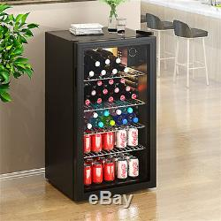 85 L Drinks Cooler Fridge Glass Door Under Counter Beer Wine Chiller Display