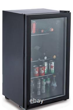 85 Litre Under Counter Drinks Fridge, Beer And Wine Cooler With Glass Door
