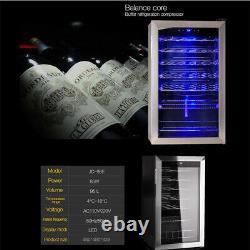 95L Glass Door Beverage & Wine Cooler Undercounter Mini Bar Beer Drinks Fridge