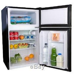 AMZUFF01BL 88L Black Freestanding Under Counter 2 Door Fridge Freezer A+ Energy