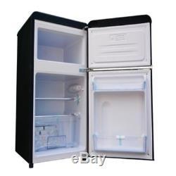 Bauer Haus Undercounter Double Door Retro Fridge Freezer Black 80L A+ Energy
