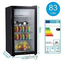 Black 43/63/83L Mini Fridge Under Counter Drinks Fridge Wine Beer Refrigerator