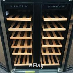 Black 60cm Dual Zone Wine Cooler 2 Door Undercounter Fridge