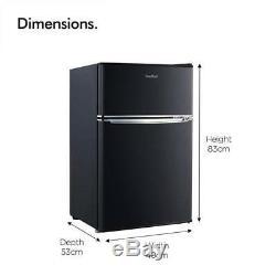 Black Mini Fridge Freezer Refrigerator Compact Cooler Small Office Food Storage
