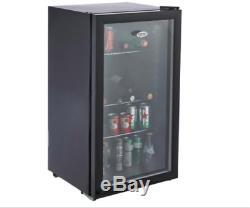 Black Under Counter Wine Beer Mini Drinks Bottle Cooler Chiller Fridge NEW