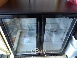 Black double door glass fronter under counter drinks fridge 90x90x50