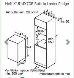 Brand New 55CM NEFF K1514X7GB Integrated Fridge 151L Fast Chill Reversible Doors