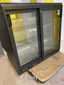 Commercial Back Bar Cooler 2 Sliding Door Bottle Chiller Undercounter Fridge