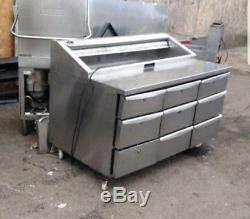 Commercial Catering Undercounter pizza prep table 9 drawer Fridge Chiller