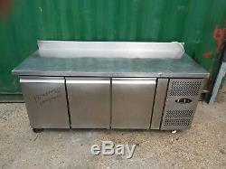 Commercial undercounter 3 door prep fridge work top fridge stainless steal used