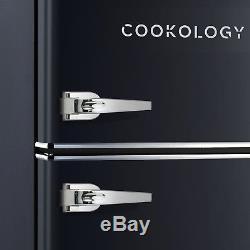 Cookology RETRO86BK 1950's Undercounter Fridge Freezer in Retro Black, 50cm wide