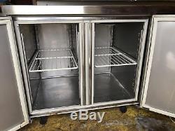 Double Door Under Counter Fridge Commercial Catering Meat Dairy