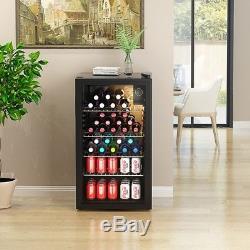 Drinks Display Cooler Fridge Under Counter Chiller Shop Glass Door 85L Black UK