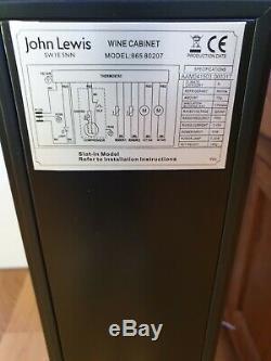 John Lewis Black Glass door slim undercounter Wine cabinet/fridge/cooler