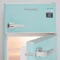Montpellier MAB2030PB Pure Blue Under Counter Retro Fridge with Top Freezer