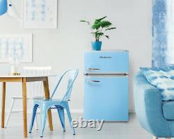 Montpellier MAB2035PB Pale Blue Under Counter Retro Style Fridge Freezer