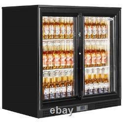 New 2 Sliding Door Under Counter Man Cave Home Bottle Cooler Pub Beer Fridge