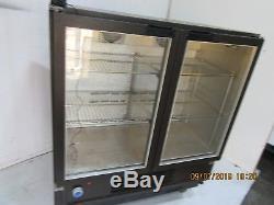 Osborne Double Glass Door Under Counter Drinks Display Fridge Chiller With Light