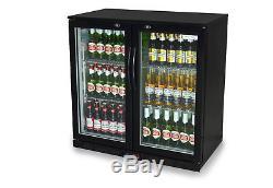 Primo 2 Double Door Bar Bottle Beer Under Counter Display Fridge FREE DELIVERY