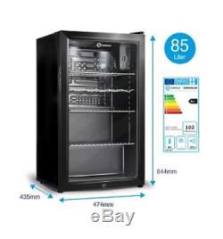 Royal Fridge Mini Bar Beer Bottle Drinks Cooler Refrigerator Glass Door 85L A+