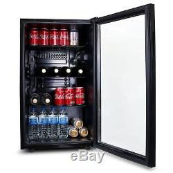 SIA DC1BL 126L Glass Door Black Under Counter Beer & Drinks Fridge Wine Cooler