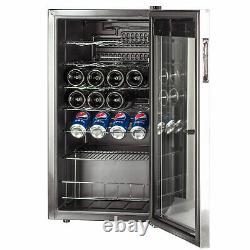SMAD 95 Litre 35 Bottles Wine Fridge Beverage Cooler Stainless Steel Glass Door