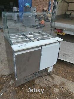 Saladette Glass top 2 door prep fridge pizza prep undercounter 900x700x1350mm