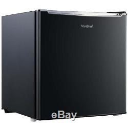 Small 75L Black Square Under Counter Fridge + Reversible Door Ice Box Free Stand