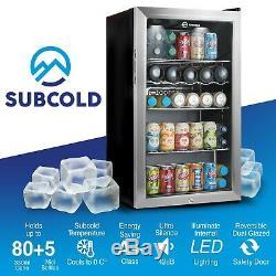 Subcold Super 85 LED Silver Under Counter Drinks Fridge Wine & Beer Fridge