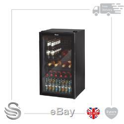 Swan 80L Black Undercounter Glass Fronted Fridge Wine Cooler SR12030BN