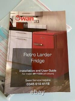 Swan Powder Blue Retro Larder Fridge c/w instructions, freestanding under counter