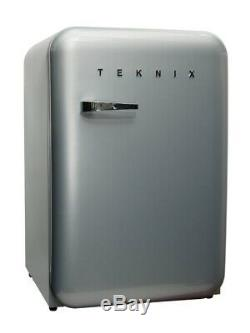 Teknix Undercounter Retro Style Fridge T130RDS Silver
