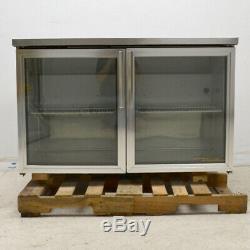 True Undercounter Refrigerator Commercial Cooler Glass Two Door 2-Shelf SS 48