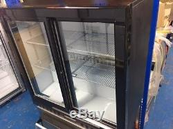 Under Counter Low Fridge Back Bar Bottle Cooler double Sliding Doors