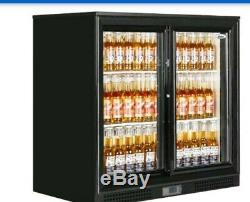 Under Counter Low Fridge Back Bar Bottle Cooler double Sliding Doors BRAND NEw