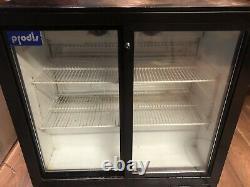 Under counter bottle cooler Frige Sliding 2 Door Drink Display Frige