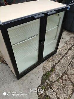 Under counter commercial double door glass fridge